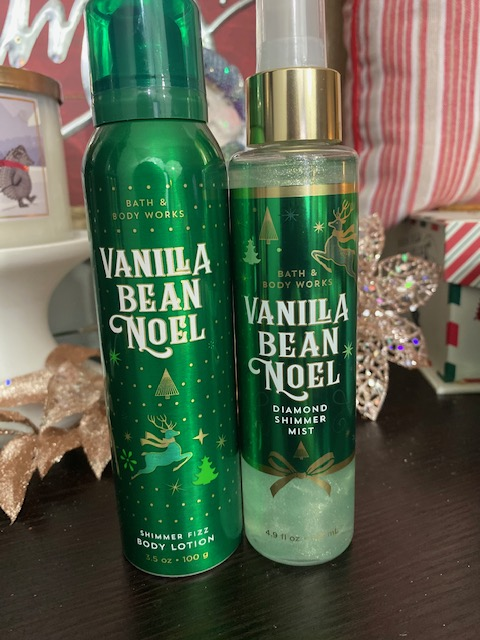 Bath & Body Works Vanilla Bean Noel Shimmer Fizz & Diamond Shimmer Mist