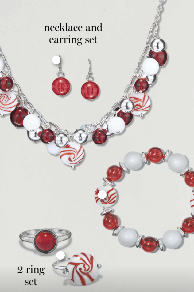 Avon Peppermint Party Necklace And Earring