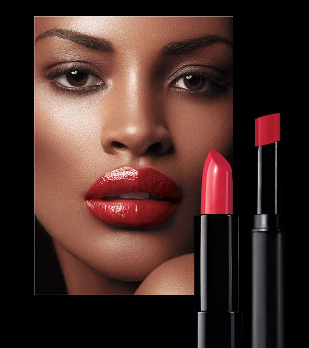 Model demonstrating both satin and matte fmg Cashmere lipcream by Avon.