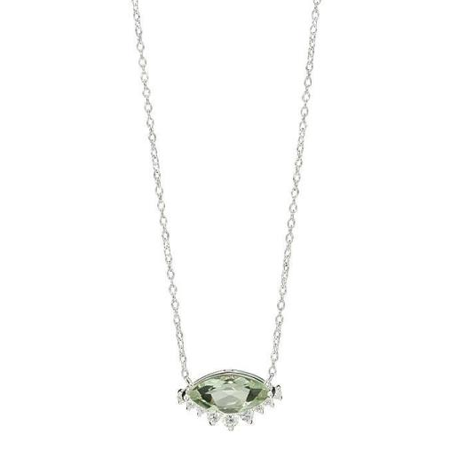Sterling Silver Green Amethyst Pendant Necklace